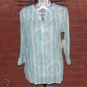 Mint Green White Gold Stripe Tunic Shirt